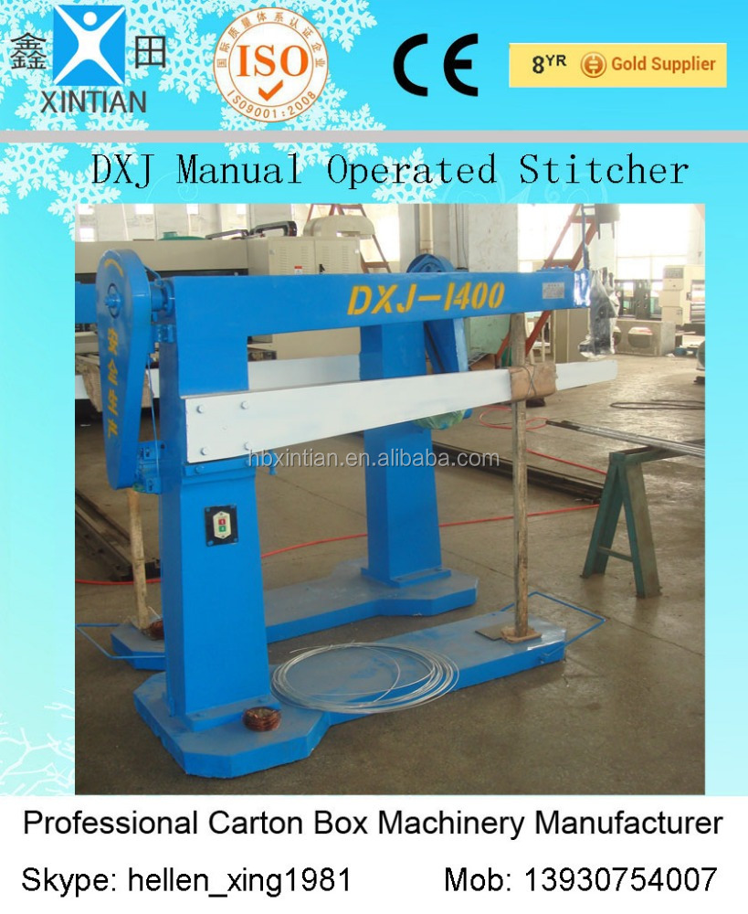 semi-auto high quality corrugated carton box stitching machine/stapler corrugated cardboard stapling machine