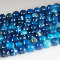 Hot fashion blue stripe agate stone loose beads