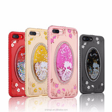 Promotional Exquisite Gift 3D Model Quicksand Luxury Decorate Back Cover for Mobile Phones for iPhone 7