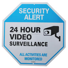 Aluminum Reflective CCTV 24 Hours Video Surveillance Yard Security Warning Sign