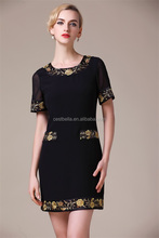 European Style Embroidered Midi evening Dress Sexy Dress for Clubwear