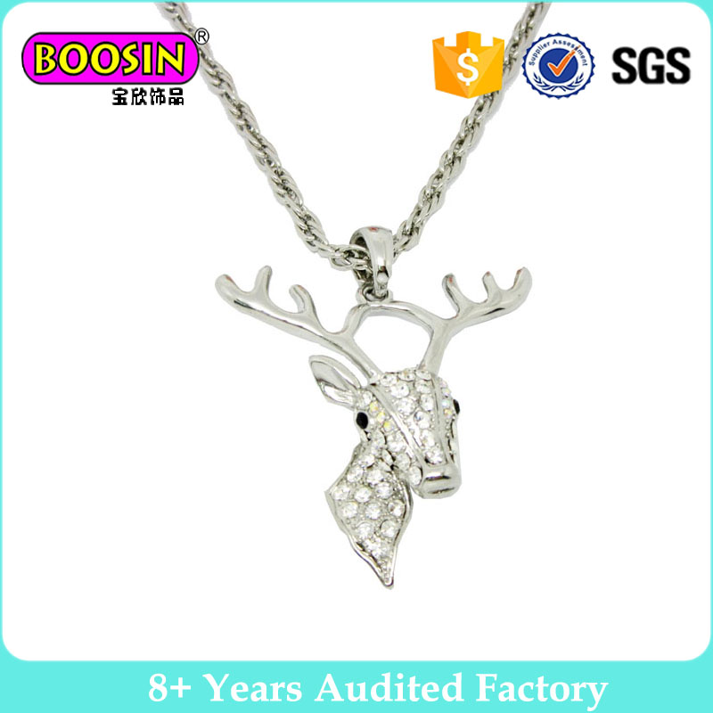 Unique animal deer jewelry pendant silver deer antler reindeer necklace #14436