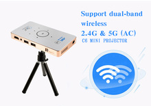Portable mini Android 5.1 4K projector Amlogic S905 home theater 8GB/16GB rom C6 Projector