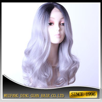 2016 Hot Selling Synthetic Lace Wig Two Tone Color Ombre Grey With Black Synthetic Lace Front Wig