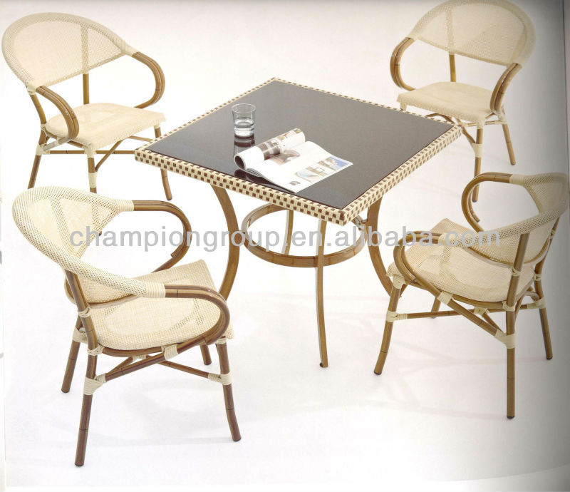 resturant dining table and chairs with hand paint bamboo finish