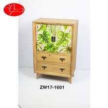 Custom Fir Wood antique style 2 Drawer clear display Cabinet