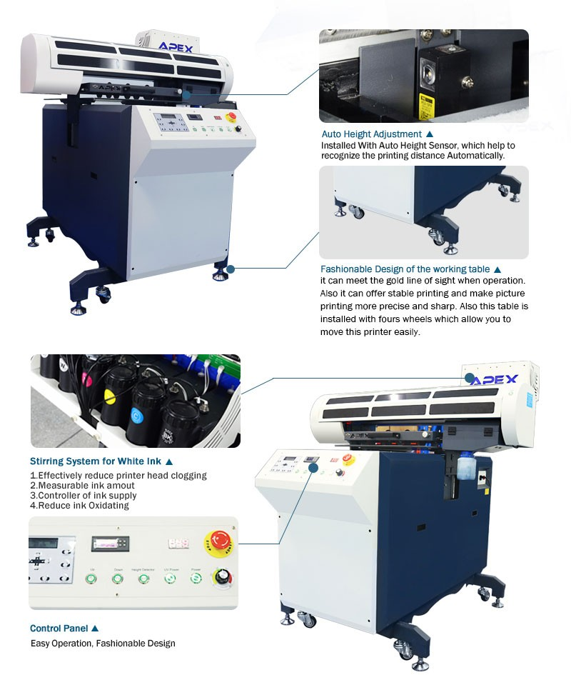 2017 APEX New Products A1 60*90 Digital UV LED Flatbed Printer