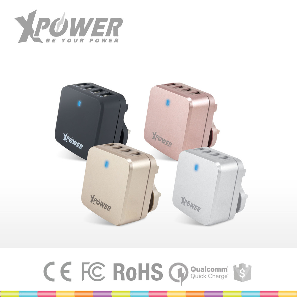 High power LVD Approved AU EU UK US 100-240V 4 Ports custom color Smart 2.4A USB Quick Charger 3.0 for Travel with warranty