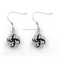 Wholesale factory price ancient silver Unique dangling knot earrings