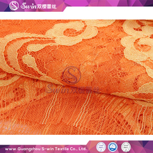 Orange/Yellow Double Color Pattern Cheap Nylon Cotton Rayon Knitted Indian Lace Fabrics