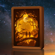 Special Design Night Light Lamp Hotel Bed Light Papercut Light Box Frame Decoration