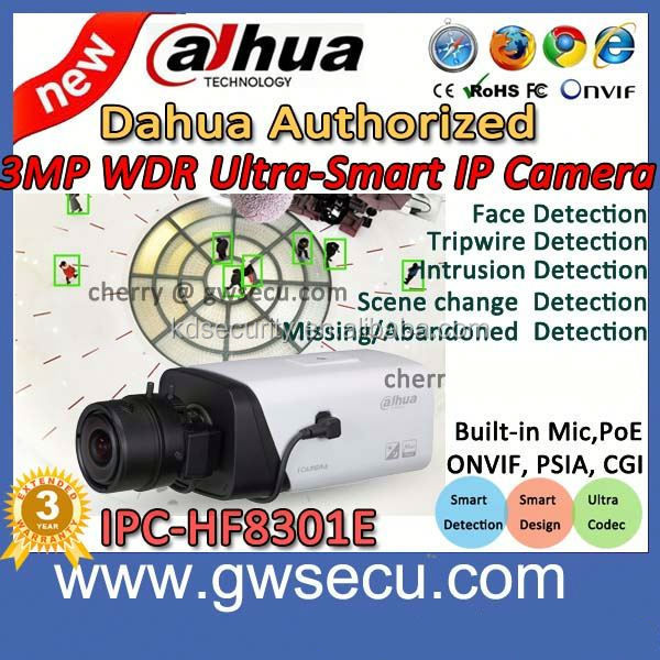 2014 new product dahua face detection ip camera IPC-HF8301E face recognition dahua 3MP WDR Ultra-Smart Network Camera