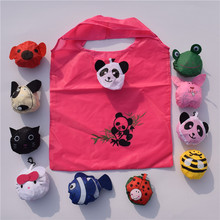 Hot sale cute panda shape shopping foldable bag in nylon material China factory