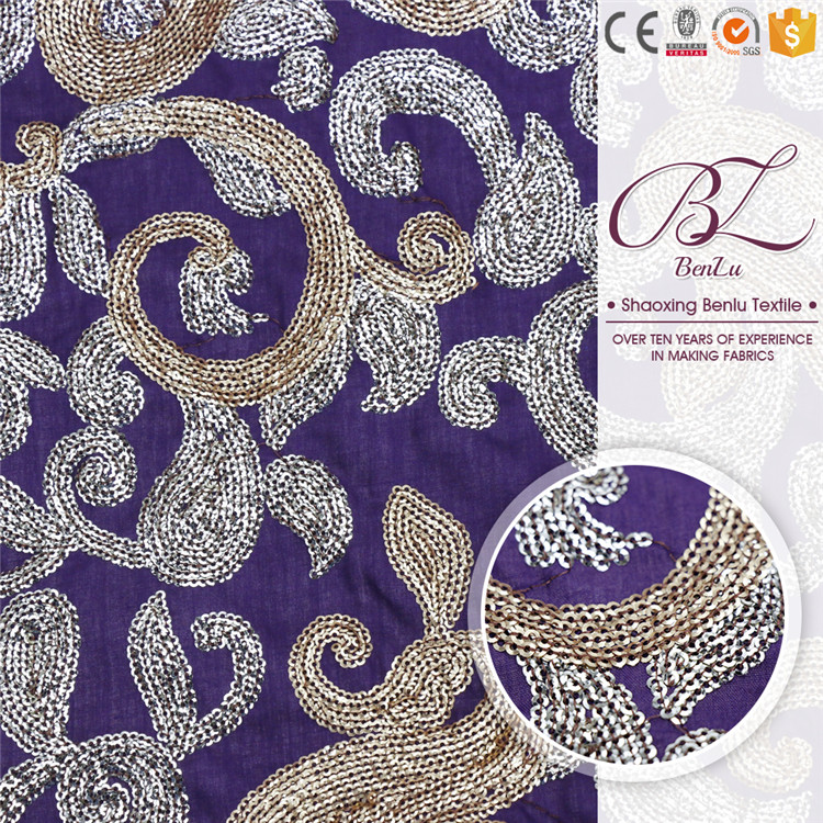 OEM african wholesale polyester two color sequin embroidery fabric