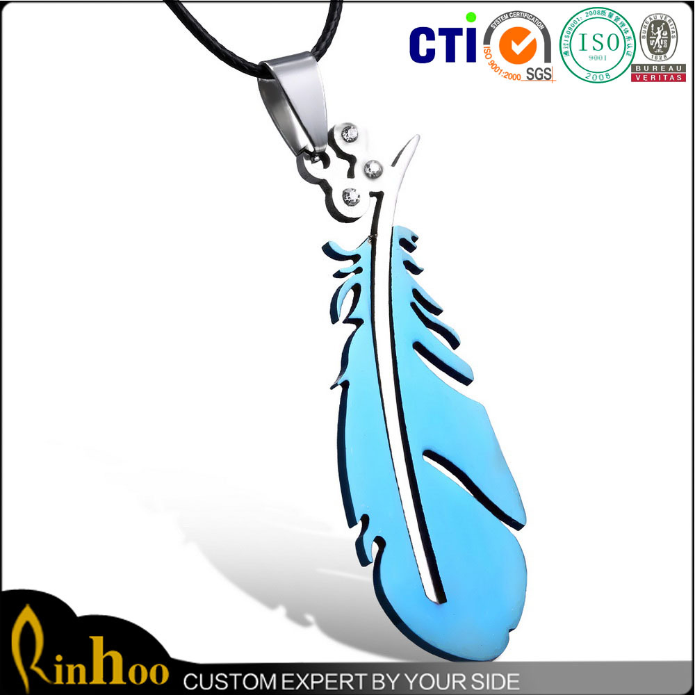Cheap wholesale high quality 316l stainless steel meaning feather necklace