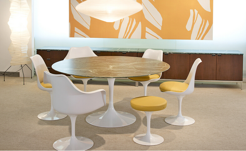 High quality white Replica branded swivel dining Fiberglass Eero Saarinen Tulip Armchair