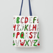 Custom Logo Printed Recyclable Tote Shopping Cotton Bag For Christmas