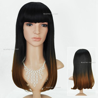 Beauties Factory Synthetic Ombre Long Straight Cosplay Brown Full Hair Wig 1909Z