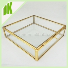 Ornate Rectangle Jewelry Trinket Brass Glass Storage Box picture display ,mom, groom, dad, bride, wedding gift 4r photo frame