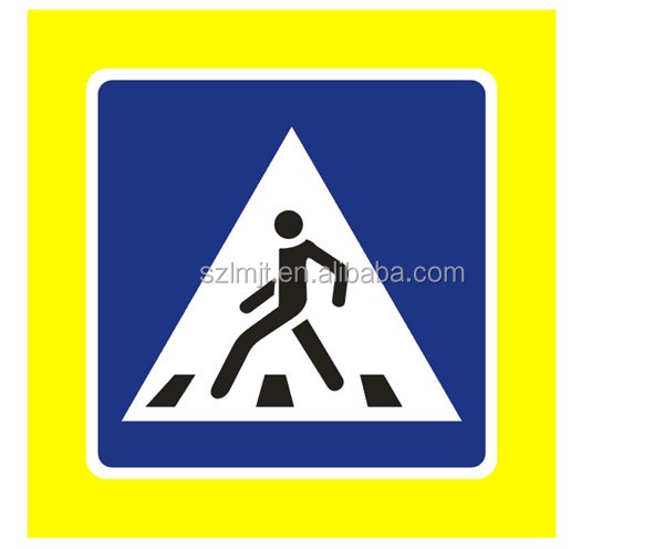Road traffic pedestrian crossing sign