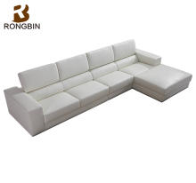Modern design L shape sofa , latest corner white leather sofa for home furniture