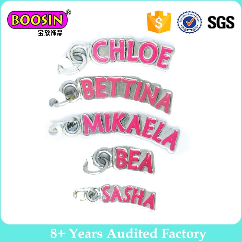Wholesale custom logo enamel metal tag charms, personalized letter word phrase tags #13132