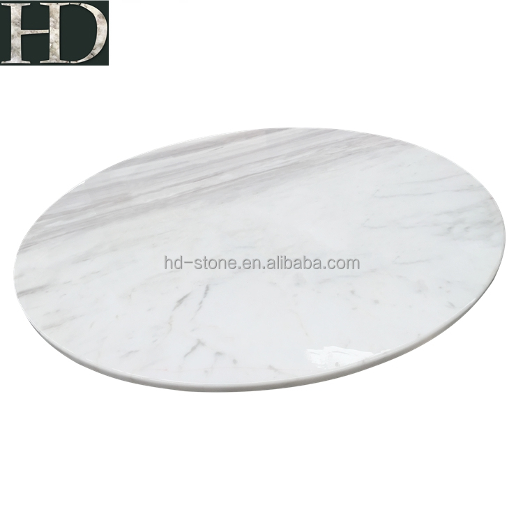 Natural Good Quality Polished Round Greece Volakas White Marble Table Tops