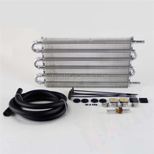 6 Row Radiator Remote Aluminum Transmission Oil Cooler + Hose Mounting Kit