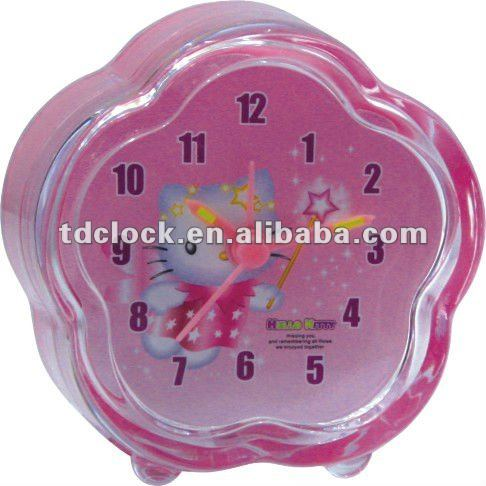 Lovely mini plastic BB alarm hello kitty clock