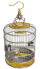 Deluxe Genuine Stainless Steel Craft Bird Cage Antique Round Bird Cages