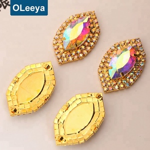Factory hot sale crystal rhinestone applique 50*30mm Navette crystal ab rhinestone sew on appliques used clothing
