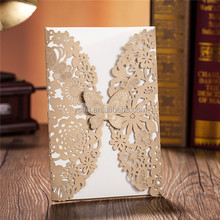 Butterfly Wedding Invitation card Laser Cut card Elegant Folded Wedding Invitation card