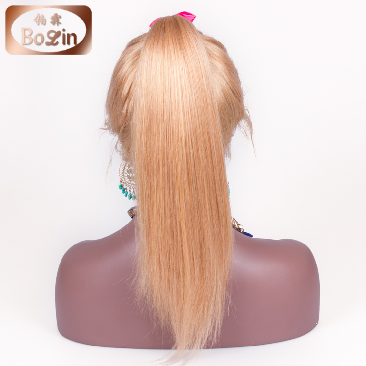 Top Grade Brazilian Virgin Hair Lace Wig 150% Density Color 16# Brazilian Blonde Human Hair High Ponytail Full Lace Wigs