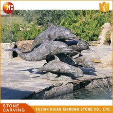Handmade Natural Marble Dolphin Outdoor Stone Water Fountain