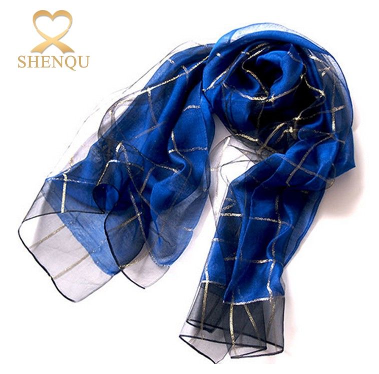 Fashion printed gold line long plaid banket personalized japanese silk tudung scarf with blended fabric