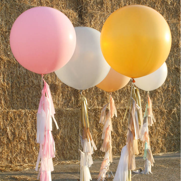 High quality 36 inch perfect round shape wedding helium latex party inflatable giant balloon with tassels