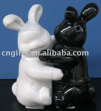 ceramic cruet set black and white rabbit salt and pepper shaker