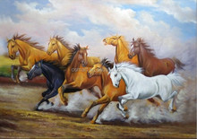 Factory Pridce High Quality Assured Old Master 100% Hand Painted Eight Horses Oil Painting
