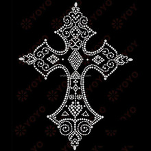 Hot fix cross rhinestone appliques design iron on transfer