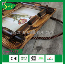 Heavy wooden hanging 3 layer picture photo frame