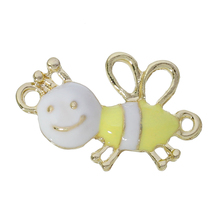 "Connectors Findings Bees Light Golden White & Yellow Enamel 25mm(1"") x 16mm( 5/8""), 10 PCs"