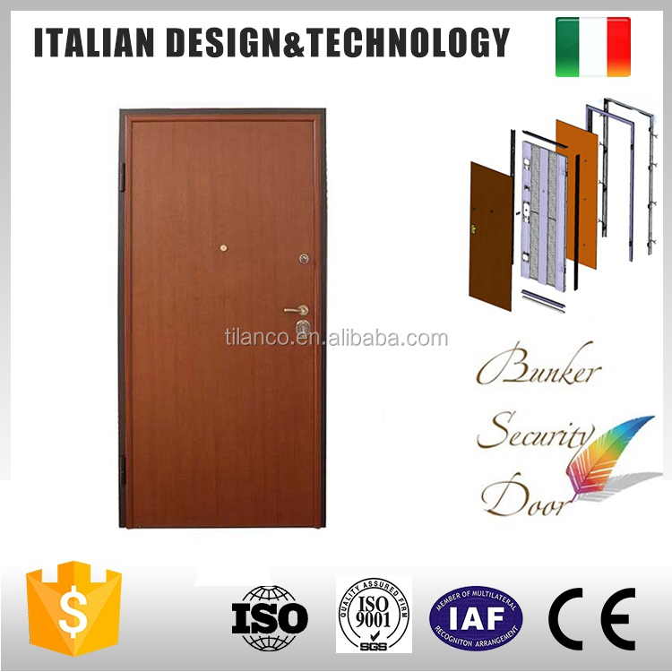 Fancy Italy style Armored Door Price Safety Steel Wood Door Design