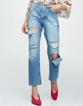top design Relaxed fit ripped blue jeans 2017