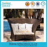 All Weather Modern Daybed Brown Luxury Rattan Cheap Sun Loungers