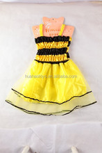 2016 unique design fashion dress yellow&black frock for kids party dresses