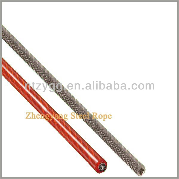 PVC PU coated steel cable 1.5mm to 30mm plastic coated wrie rope