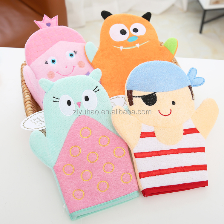 Hot-sale fancy childrens fingerless bath cleaning sponge gloves