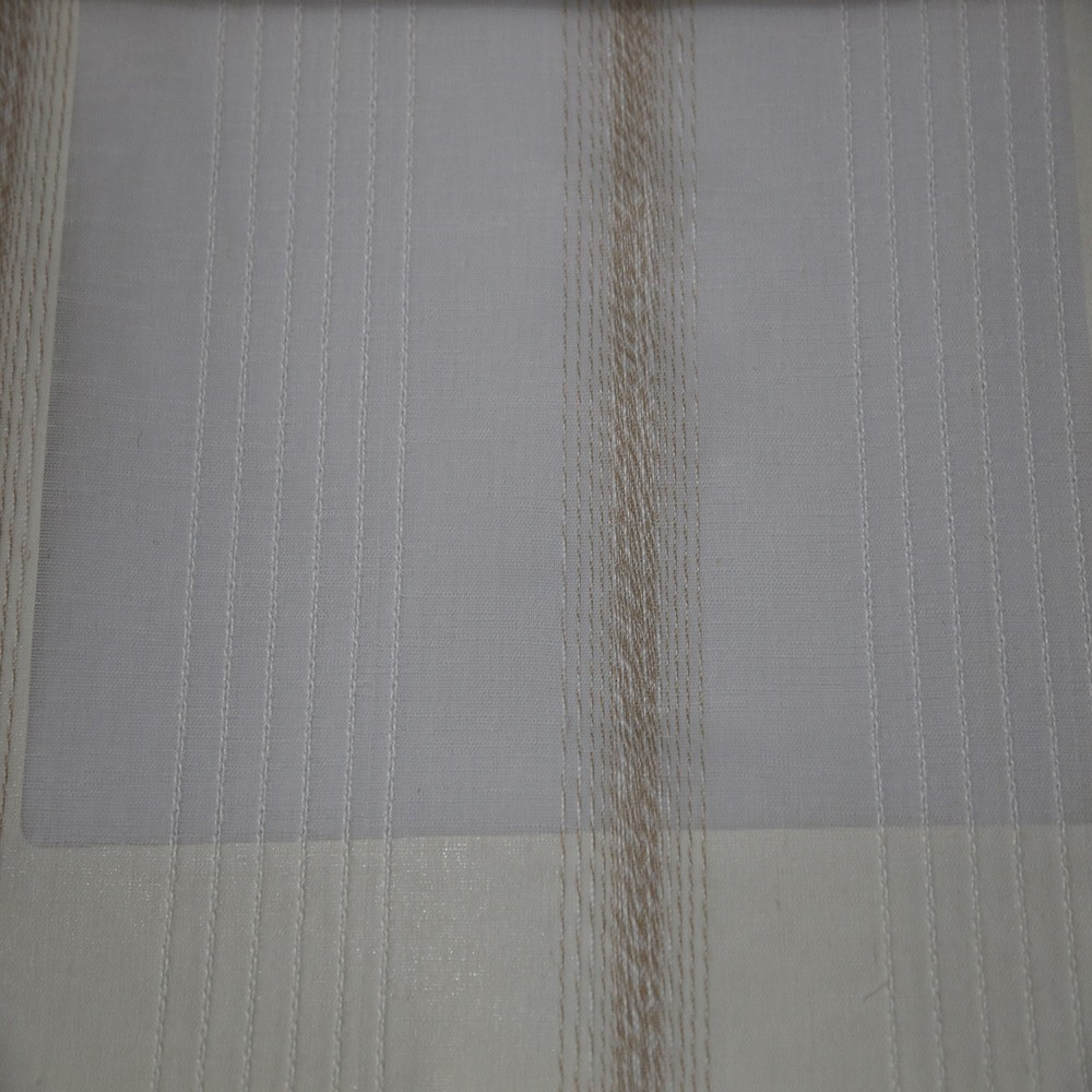 Good quality Dubai hotel vertical stripe sheer chiffon curtain fabric with lead line