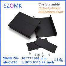 1.2*3*4inch black eluminum box and switch enclosure which can be customized by color, length, cutout, polishing, silkscreen, etc