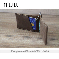 Men's bifold genuine leather card holder money clip wallet